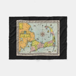Vintage Map of Cape Cod Fleece Blanket