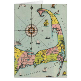 Vintage Map of Cape Cod Greeting Card