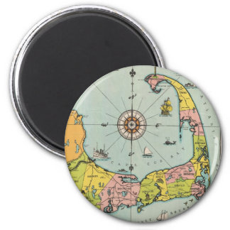 Vintage Map of Cape Cod 2 Inch Round Magnet