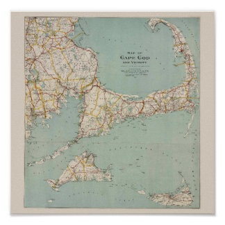 Vintage map of Cape Cod, Massachusetts Poster