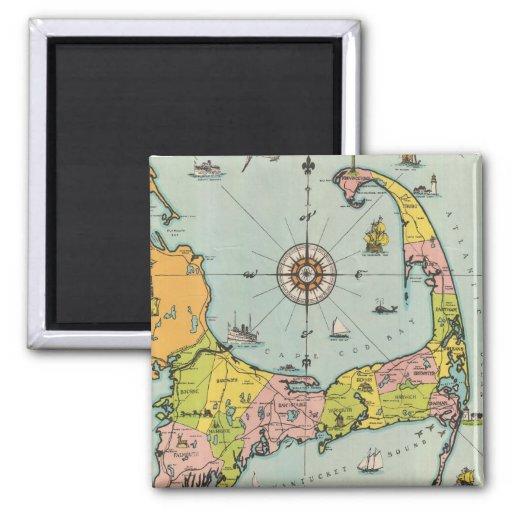 Vintage Map of Cape Cod Refrigerator Magnets