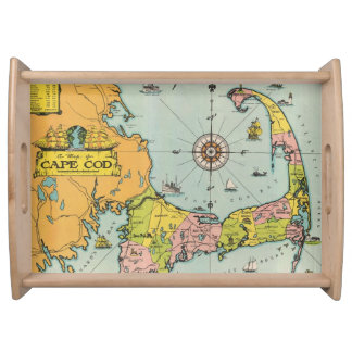 Vintage Map of Cape Cod Service Trays