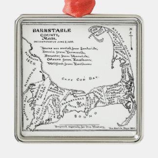 Vintage Map of Cape Cod Square Metal Christmas Ornament