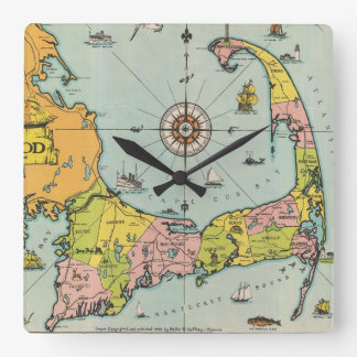Vintage Map of Cape Cod Square Wall Clock