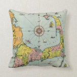 Vintage Map of Cape Cod Throw Pillows
