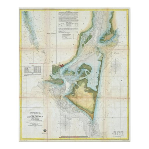 Vintage Map of Cape Fear (1857) Poster
