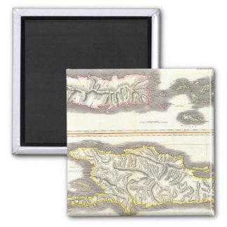 Vintage Map of Caribbean Islands (1815) 2 Inch Square Magnet