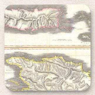 Vintage Map of Caribbean Islands 1815 Coasters