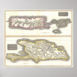 Vintage Map of Caribbean Islands (1815) Poster