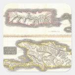 Vintage Map of Caribbean Islands (1815) Square Sticker