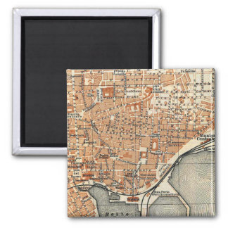 Vintage Map of Catania Italy (1905) 2 Inch Square Magnet