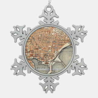 Vintage Map of Catania Italy (1905) Snowflake Pewter Christmas Ornament