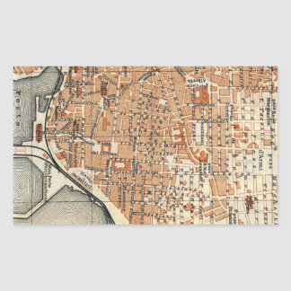 Vintage Map of Catania Italy (1905) Rectangular Sticker