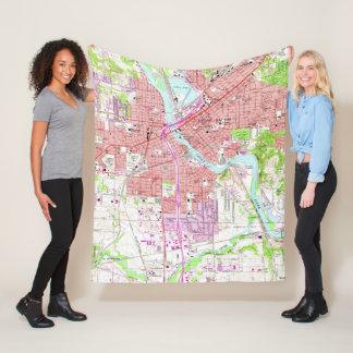 Vintage Map of Cedar Rapids Iowa (1967) Fleece Blanket
