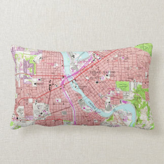 Vintage Map of Cedar Rapids Iowa (1967) Lumbar Pillow