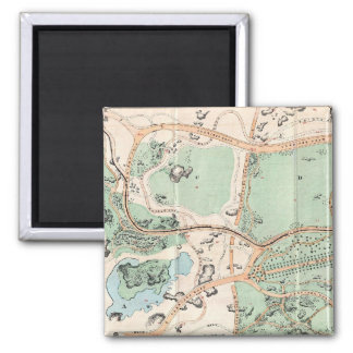 Vintage Map of Central Park (1860) 2 Inch Square Magnet