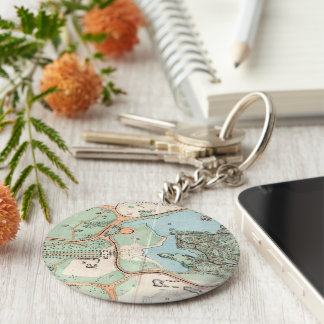 Vintage Map of Central Park (1860) Basic Round Button Keychain