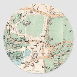Vintage Map of Central Park (1860) Classic Round Sticker
