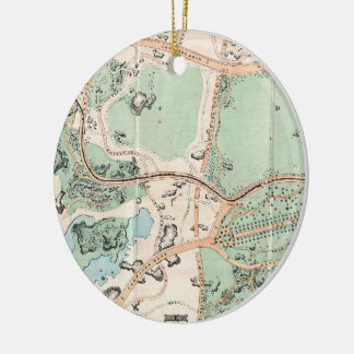 Vintage Map of Central Park (1860) Double-Sided Ceramic Round Christmas Ornament