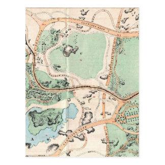 Vintage Map of Central Park (1860) Postcard