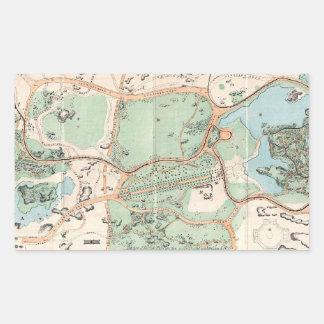 Vintage Map of Central Park (1860) Rectangular Sticker