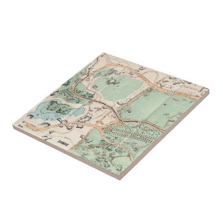 Vintage Map of Central Park (1860) Small Square Tile
