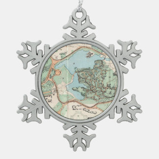 Vintage Map of Central Park (1860) Snowflake Pewter Christmas Ornament
