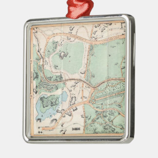 Vintage Map of Central Park (1860) Square Metal Christmas Ornament