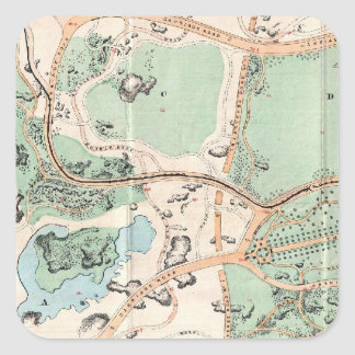 Vintage Map of Central Park (1860) Square Sticker