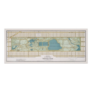 Vintage Map of Central Park. New York, 1875 Poster