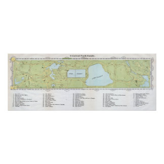 Vintage Map of Central Park NYC (1866) Poster