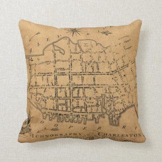 Vintage Map of Charleston South Carolina (1790) Throw Pillow