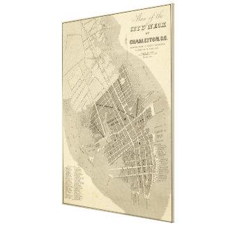 Vintage Map of Charleston South Carolina (1844) Canvas Print