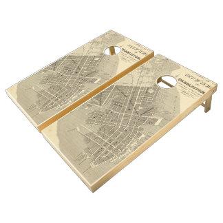 Vintage Map of Charleston South Carolina (1844) Cornhole Set