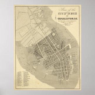 Vintage Map of Charleston South Carolina (1844) Poster
