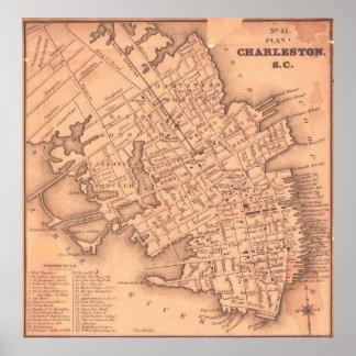 Vintage Map of Charleston South Carolina (1849) Poster