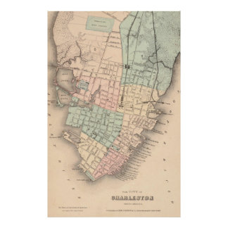 Vintage Map of Charleston South Carolina (1855) Poster