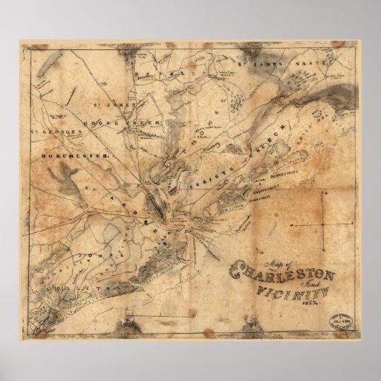 Vintage South Carolina Map.Vintage Map Of Charleston South Carolina 1862 Poster Zazzle Com
