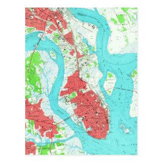 Vintage Map of Charleston South Carolina (1958) 2 Postcard