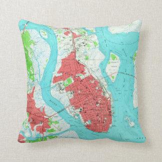 Vintage Map of Charleston South Carolina (1958) 2 Throw Pillow