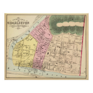Vintage Map of Charleston West Virginia (1873) Poster