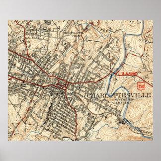 Vintage Map of Charlottesville Virginia (1949) Poster
