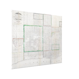 Vintage Map of Chicago (1836) Canvas Print
