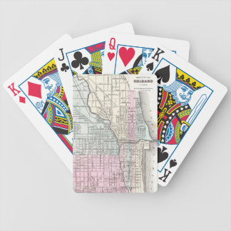 Vintage Map of Chicago (1855) Bicycle Playing Cards