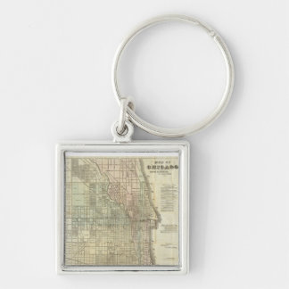 Vintage Map of Chicago 1857 Key Chain