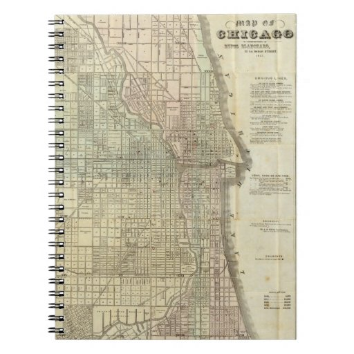 Vintage Map of Chicago (1857) Spiral Note Book