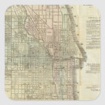 Vintage Map of Chicago (1857) Square Sticker