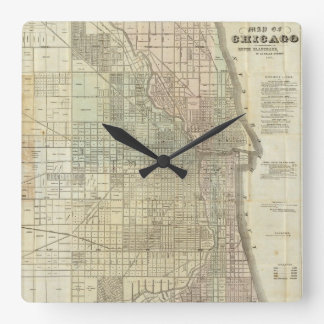 Vintage Map of Chicago (1857) Square Wall Clock