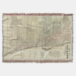 Vintage Map of Chicago (1857) Throw