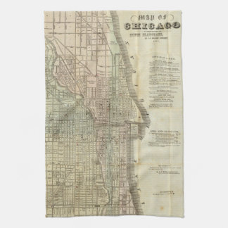 Vintage Map of Chicago (1857) Towels